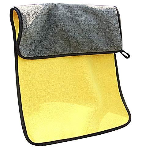 VCB Zweifarbiges, doppelseitiges Auto-Reinigungstuch aus Samt mit hoher Dichte - grau und gelb (650GSM)