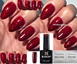 Bluesky KS4010 Red Flame hellroter Glitzer Gel-Nagellack UV/LED Soak-Off-Gel,10ml inkl. 2 Homebeautyforyou Glanztücher