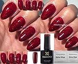 Bluesky KS4010 Red Flame hellroter Glitzer Gel-Nagellack UV/LED Soak-Off-Gel,10ml inkl. 2Homebeautyforyou Glanztücher