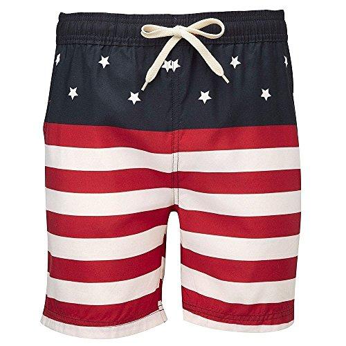 Men's Hawaiian American elasticated drawstring summer swim shorts (Boardshorts Mens Hawaiian)