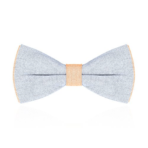 Autiga Fliege Herren Schleife Schlips zweifarbig Baumwolle gebunden Hochzeit Konfirmation Anzug Smoking hellblau-orange