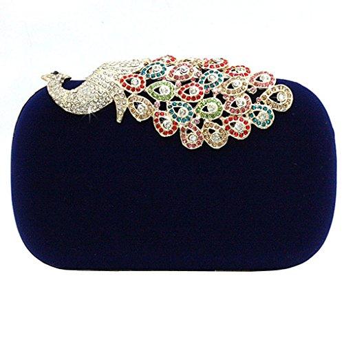 KAXIDY Pfau Kristall Diamant funkeln Abendtaschen Hart Schachtel Unterarmtasche Clutch Handtasche Blau
