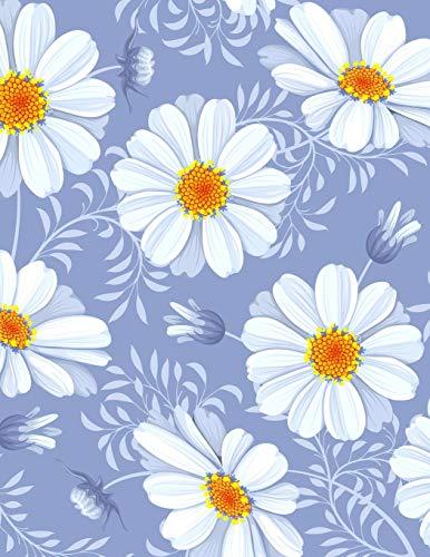 Carnet de Notes: Grand journal personnel de 121 pages blanches avec couverture fantaisie « Fleurs fond mauve » par Virginie Polissou