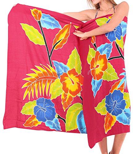 La Leela glatt Hand malen Rayon Schmetterling Bikini Pareo 78x43 Zoll vertuschen Rotes Herz