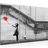 Bilder Banksy - Ballon Girl Wandbild 120 x 80 cm Vlies - Leinwand Bild XXL Format Wandbilder Wohnzimmer Wohnung Deko Kunstdrucke Rot 3 Teilig - Made IN Germany - Fertig zum Aufhängen 301631a