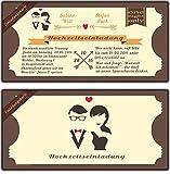 EInladungskarten Hochzeit Vintage Eintrittskarte Ticket Flugticket creme retro