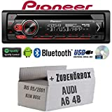 Audi A6 4b bis 2001 - Autoradio Radio Pioneer DEH-S310BT - Bluetooth | Spotify | CD | MP3 | USB | Android | 4x50Watt Einbauzubehör - Einbauset