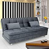 Furny Gaiety Supersoft Three Seater Sofa Cum Bed (Grey)