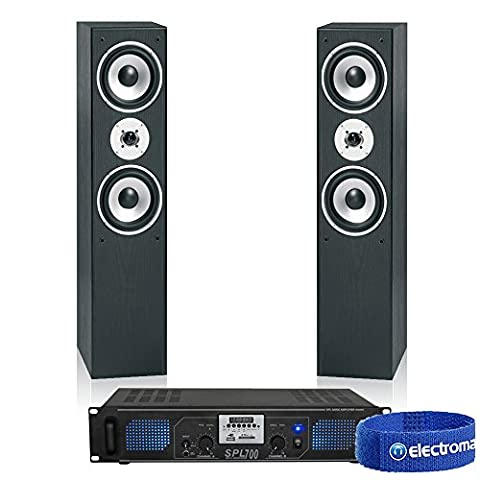 Skytronic Hifi Tower Stereo Speakers MP3 USB SD FM Amplifier 700W