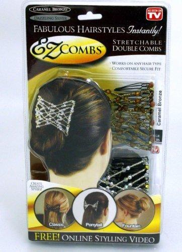 EZ Combs - 2 x Haarspangen - Trendiges Vintage Haarschmuck - Haarspange Hair Fashion Comb Haarklammer Dutt Klammer Haargreifer Kopfschmuck Brautfrisur Brautschmuck (Vintage-massagegerät)