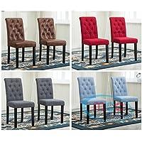 Juego de 2 sillas de comedor de tela con patas de madera maciza para restaurantes domésticos y comerciales [Rojo]