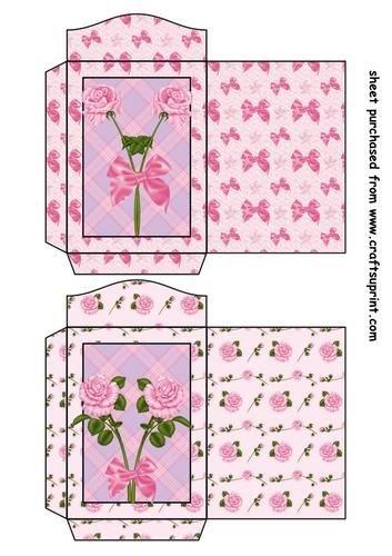 Feuille A4 pour confection de carte de vœux - 2 Pink rose seed packets 1 par Sharon Poore