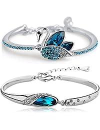 Tiaraz Fashion Blue Platinum Plated Austrian Crystal Cuff & Kadaa Bangle Bracelet for Women & Girls