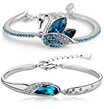 Tiaraz Fashion Blue Platinum Plated Austrian Crystal Kadaa Bangle Bracelet for Women & Girls (Combo)