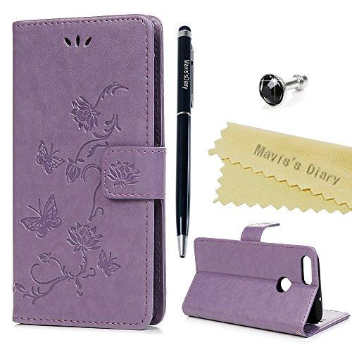 Huawei P Smart Hülle Case Mavis's Diary Lotusblume Muster Leder Tasche Handyhülle Flipcase Cover Skin Ständer Schutzhülle Schale Klappbar Ledertasche Magnet Bumper Brieftasche Handytasche-Lila