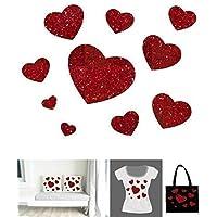 10 Coeurs Pailletés différentes tailles . Transfert Appliqué Patch écusson en flex thermocollant pour tissus