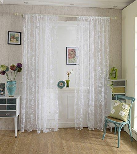 Voilage Rideau en Voile Paravent Motif de Pivoine de Flocage pour Porte Fenêtre Balcon 200cm x 100cm - Blanc