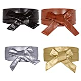CHIC DIARY 4 Stück Mode Taillengürtel Damen Bindegürtel Wickelgürtel Hüftgürtel mit Schleife Breit Gürtel für Kleider aus PU Leder in 4 Farben(Schwarz/Golden/Silber/Kamelhaarfarbe)