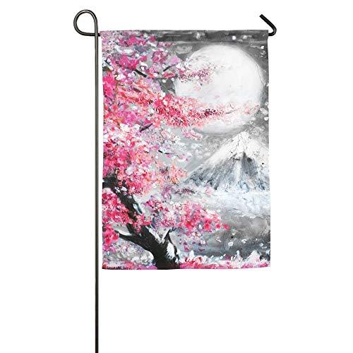 ASENDAN 30 X 45 cm Ölgemälde Landschaft Mit Sakura Und Berg Hand Gezeichnete Illustration Japan Familie Gartenhaus Haus Demonstration Spiel Flagge