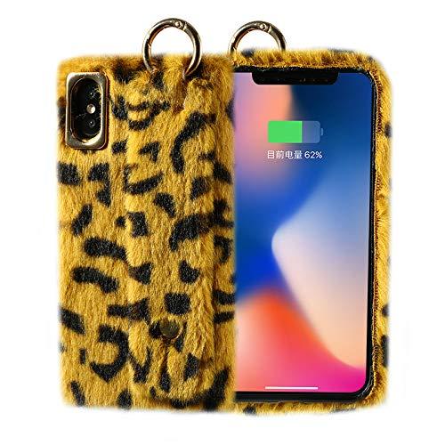 GUYISJK iPhone-Handyhülle Mobile Phone Case Plüsch Leopard XS Anti-Herbst Apple X Xr Herbst Und Winter Furry Apple XS Max Schutzhülle, Plüsch Armband - Apple Leopard Xr (Gelb) Furry Leopard