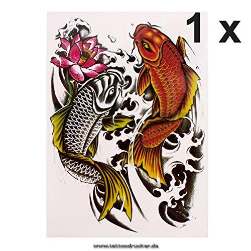 1 x Karpfen Fisch Körpertattoo - Einmal buntes temporary Fake Tattoo HB343 (1)