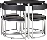 Tesco Space Saver 4 Seat Round Dining Table & Chair Set - Black A
