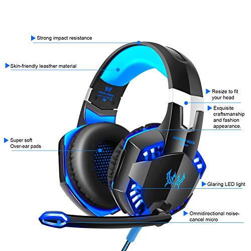 Gaming Kopfhörer für PS 4 PC Computer Professioneller 3,5mm Gaming Headset Stereo Sound Mikrofon mit Rauschunterdrückung und Lautstärkeregler Egonomisches Design, geringes Gewicht (Blau) - 4