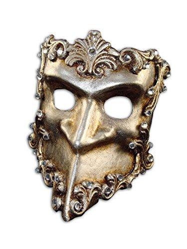 Luxus Venezianische Halbe Gesichtsmaske Bauta Baroque mit Swarovski-Kristallen für Männer (silber)