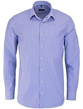 ETERNA Modern Fit Hemd Langarm New Kent Kragen Streifen blau