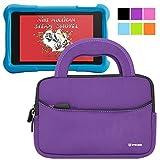 Evecase Fire HD Kids Edition Tablet Sleeve, Ultra Portable Handle Carrying Portfolio Neoprene Sleeve Case Bag for Amazon Fire HD 6 / 7 Kids Edition, 6'' / 7 inch HD Display - Purple