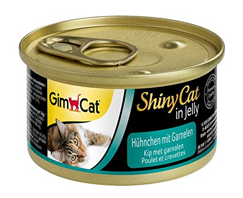 GimCat ShinyCat - Boîtes pour chats en gelée - Avec des morceaux de poulet et de crevette - Lot de 24 x 70 g