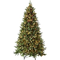 WeRChristmas Pre-Lit Crawford Pine Cone Multi-Function Christmas Tree, with 300-LED Lights, Green, 1.5 m-5 feet