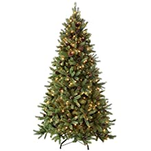 WeRChristmas Pre-Lit Craford Christmas Tree with Pinecones & 300 Chasing Warm LED Lights, 5 feet/1.5m
