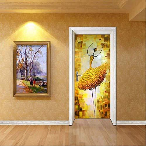 Tür Aufkleber Diy Ölgemälde Stil Ballett Tänzerin Für Schlafzimmer Wohnzimmer Pvc Wasserdicht Aufkleber Tür Wrap 77X200 Cm -