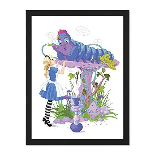 Doppelganger33 LTD Painting Cartoon Alice Wonderland Caterpillar Art Large Framed Art Print Poster Wall Decor 18x24 inch Supplied Ready to Hang