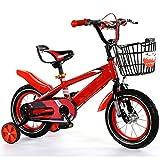 ZCRFY Kinderfahrräder Kinder Fahrrad Fahrrad 2-12 Jahre Alt Kleinkinder Jungen Mädchen Baby Student Adjustable High-Carbon Stahl Sicher Komfortable Leichte Dreirad,Red-14Inches