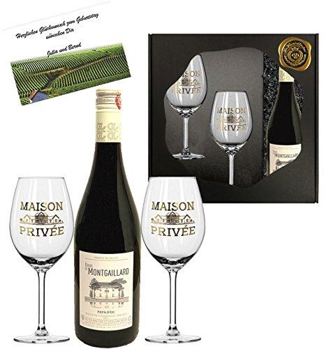 100{279aff9d5155393c3e58b862caf536702eeb62bbb3de525844304f4d35361bcd} Frankreich   Wunderschönes Premium Rotwein-Set Baron Montgaillard   Cuvée aus Cabernet Sauvignon/Syrah aus dem Languedoc Bordeaux  mit 2 Original Rotwein-Gläsern mit Echt-Gold Logo in der exklusiven Geschenkverpackung   französischer Wein für Kenner   perfekt zum Geburtstag und zu jeder Feier