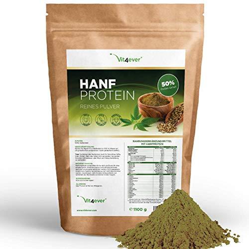Vit4ever® Hanfprotein Pulver - 1100 g / 1,1 kg - 50% Proteingehalt - Laborgeprüfte Premium Qualität - Veganes Eiweißpulver - 100% Hanfproteinpulver - Frei von Gluten, Soja und Laktose