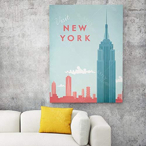 Nordic City Paysage Affiches New York Paris Londres Toile Peinture HD Imprimer Mur Art Photos pour Salon Décor À La Maison 40x60 Cm