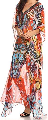 Sakkas Wilder soprabito / abito caftano diamanti sintetici trasparente lungo design stampato Sunset Orange / Multi