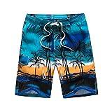 VECDY Herren Badehose, Hawaiian Trunks Quick Dry Strand Surfen Laufen Schwimmen Kurze Hose Schwimmen Wassershort Tunnelzug & Taschen für Surfen