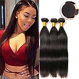 Virgin Brazilian Human Hair Straight Weave Bundles 3 Paquet Extensions Cheveux Naturel (16 18 20 Inches)