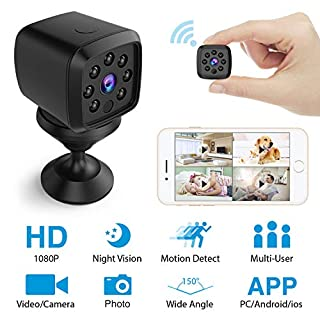 HEYSTOP Mini Hidden Camera WiFi, Spy Camera Remote Wireless Camera HD 1080P Home Security Surveillance Cameras Covert Tiny Nanny Cam with Night Vision Motion Detection for iPhone/Android/iPad/PC