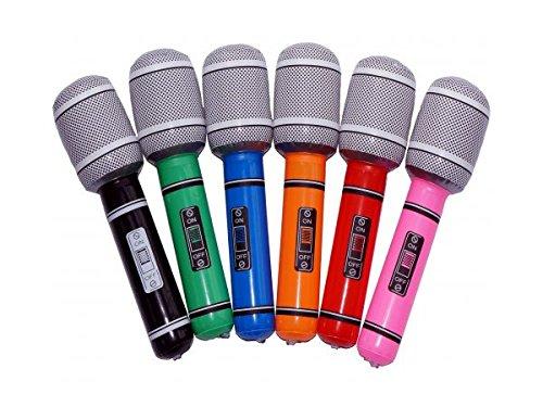 Alsino Aufblasbares Mic Mikrofon Mikrofone Luftgitarren Mikro Aufblasbare bunt (Lustige Aufblasbare Mikrofon)