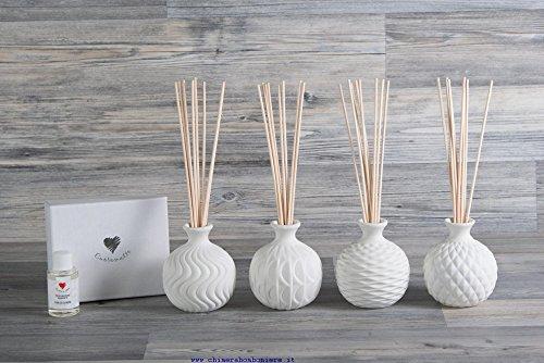 Cuorematto bomboniere solidali 2017 4 pz profumatori ceramica assortiti h10x9,5x8,5 matrimonio d5411