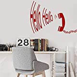 zhuziji Funny Vinyl Wall Decal Study Room Vintage Telephone Handset Hello Reply Wall Sticker for...