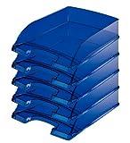 Leitz 52270085 Lot de 5 Corbeilles à courrier Hauteur 70 mm Gris