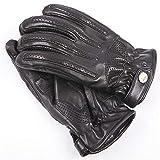 Gants en cuir pour hommes Gants de motocyclette pour conduite hors route antidérapante,Protection de sécurité (Color : BLAC-A, Size : L)