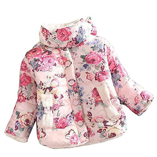 Gaorui Baby Girls Toddler Padded Jacket Puffer Coat Winter Warm Fleece Coats Flower Snowwuit Princess Outwear