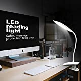 Clip on Reading Light, Yunbaoit eye-care desk Lamp,LED Book Light,Clip Lights for Beds, USB rechargeable,Multi-level dimming,touch-sensitive control adjustable,study and office (White)